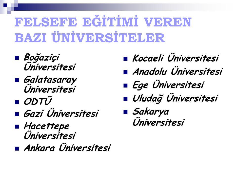 FELSEFE EĞİTİMİ VEREN BAZI ÜNİVERSİTELER Boğaziçi Üniversitesi Galatasaray Üniversitesi ODTÜ Gazi Üniversitesi Hacettepe Üniversitesi Ankara Üniversit