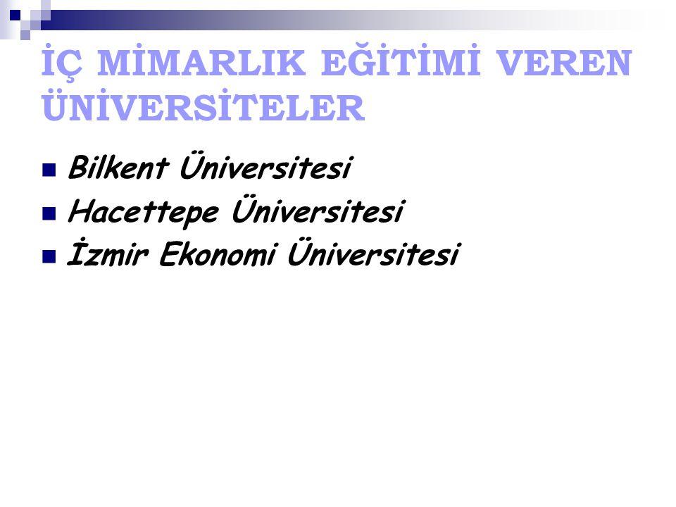 İÇ MİMARLIK EĞİTİMİ VEREN ÜNİVERSİTELER Bilkent Üniversitesi Hacettepe Üniversitesi İzmir Ekonomi Üniversitesi
