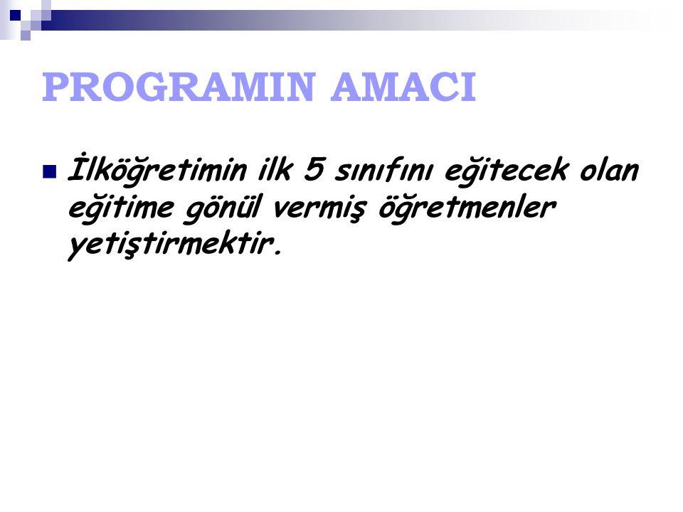 PROGRAMIN AMACI İlköğretimin ilk 5 sınıfını eğitecek olan eğitime gönül vermiş öğretmenler yetiştirmektir.
