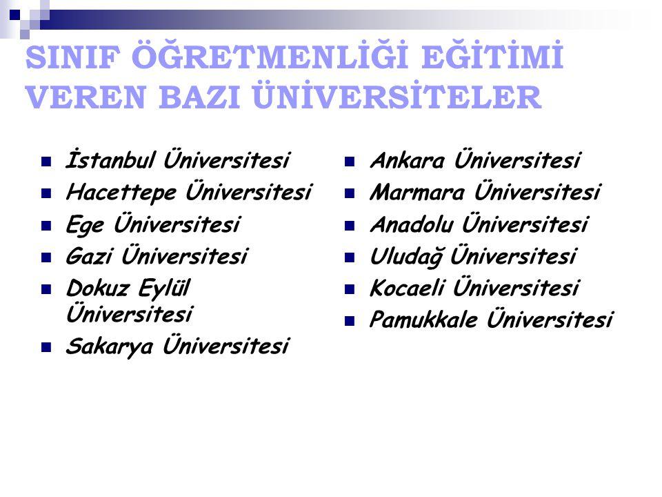 SINIF ÖĞRETMENLİĞİ EĞİTİMİ VEREN BAZI ÜNİVERSİTELER İstanbul Üniversitesi Hacettepe Üniversitesi Ege Üniversitesi Gazi Üniversitesi Dokuz Eylül Üniver