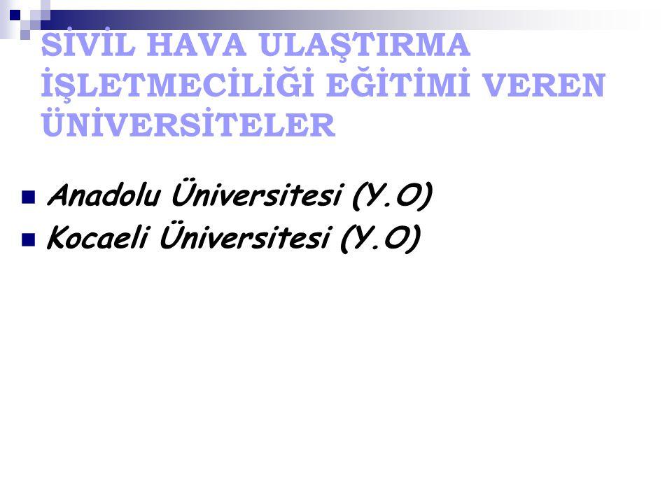 SİVİL HAVA ULAŞTIRMA İŞLETMECİLİĞİ EĞİTİMİ VEREN ÜNİVERSİTELER Anadolu Üniversitesi (Y.O) Kocaeli Üniversitesi (Y.O)