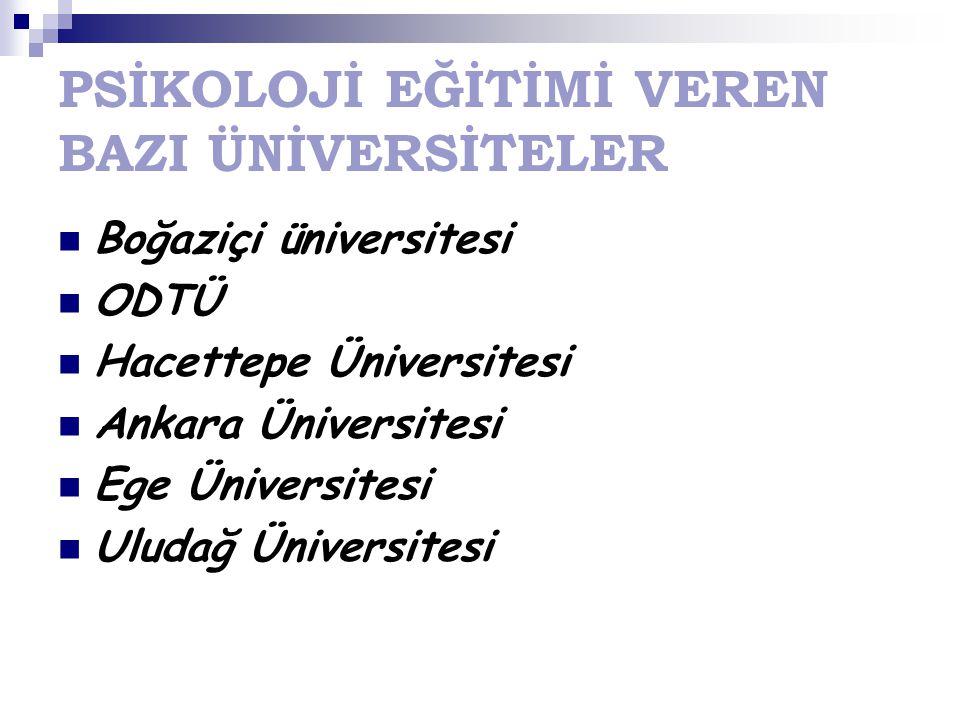PSİKOLOJİ EĞİTİMİ VEREN BAZI ÜNİVERSİTELER Boğaziçi üniversitesi ODTÜ Hacettepe Üniversitesi Ankara Üniversitesi Ege Üniversitesi Uludağ Üniversitesi