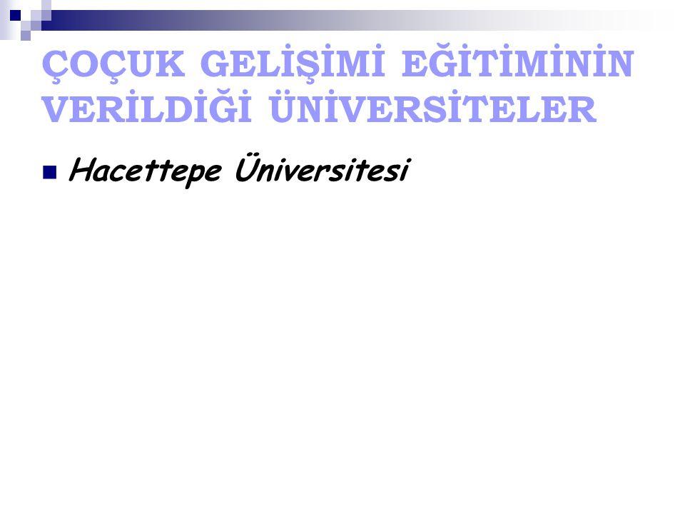 ÇOÇUK GELİŞİMİ EĞİTİMİNİN VERİLDİĞİ ÜNİVERSİTELER Hacettepe Üniversitesi