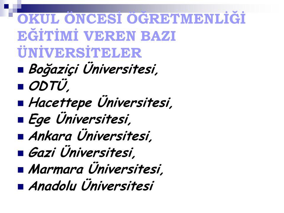 OKUL ÖNCESİ ÖĞRETMENLİĞİ EĞİTİMİ VEREN BAZI ÜNİVERSİTELER Boğaziçi Üniversitesi, ODTÜ, Hacettepe Üniversitesi, Ege Üniversitesi, Ankara Üniversitesi, Gazi Üniversitesi, Marmara Üniversitesi, Anadolu Üniversitesi