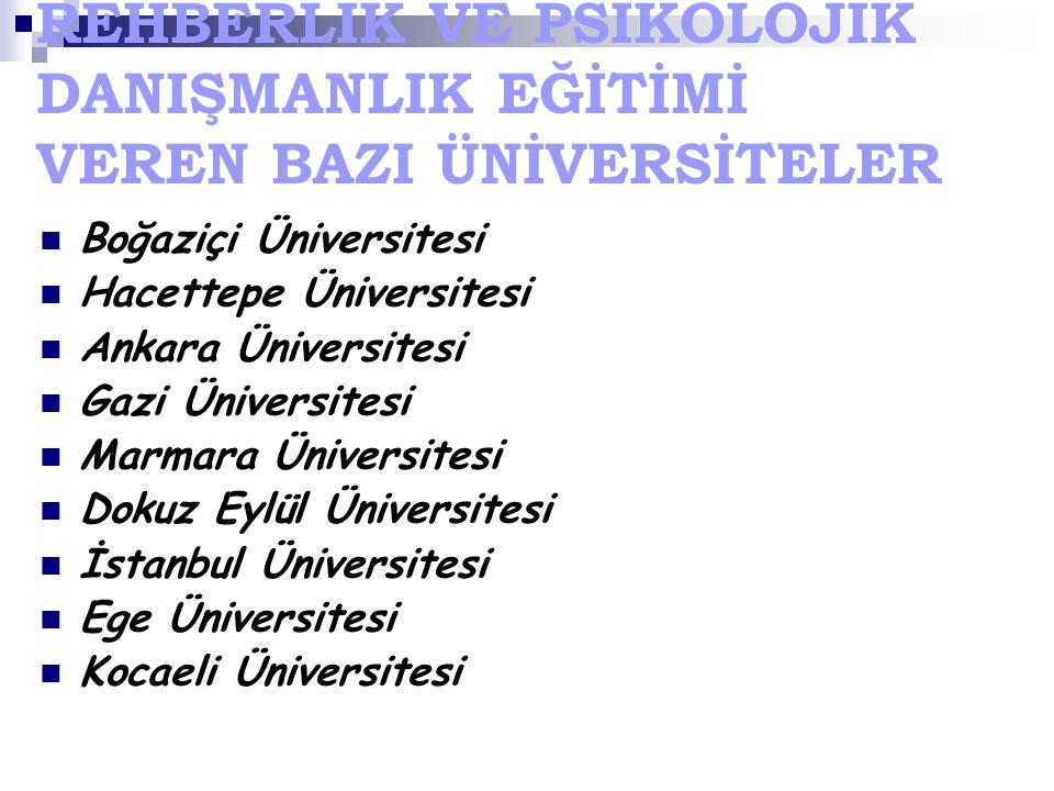 REHBERLİK VE PSİKOLOJİK DANIŞMANLIK EĞİTİMİ VEREN BAZI ÜNİVERSİTELER Boğaziçi Üniversitesi Hacettepe Üniversitesi Ankara Üniversitesi Gazi Üniversites