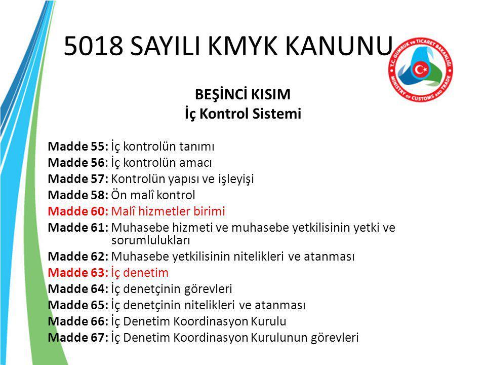 5018 SAYILI KMYK KANUNU BEŞİNCİ KISIM İç Kontrol Sistemi Madde 55: İç kontrolün tanımı Madde 56: İç kontrolün amacı Madde 57: Kontrolün yapısı ve işle