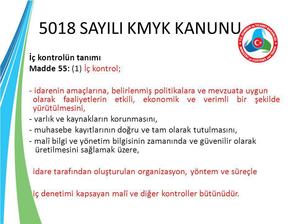 5018 SAYILI KMYK KANUNU İç kontrolün tanımı Madde 55: (1) İç kontrol; - idarenin amaçlarına, belirlenmiş politikalara ve mevzuata uygun olarak faaliye