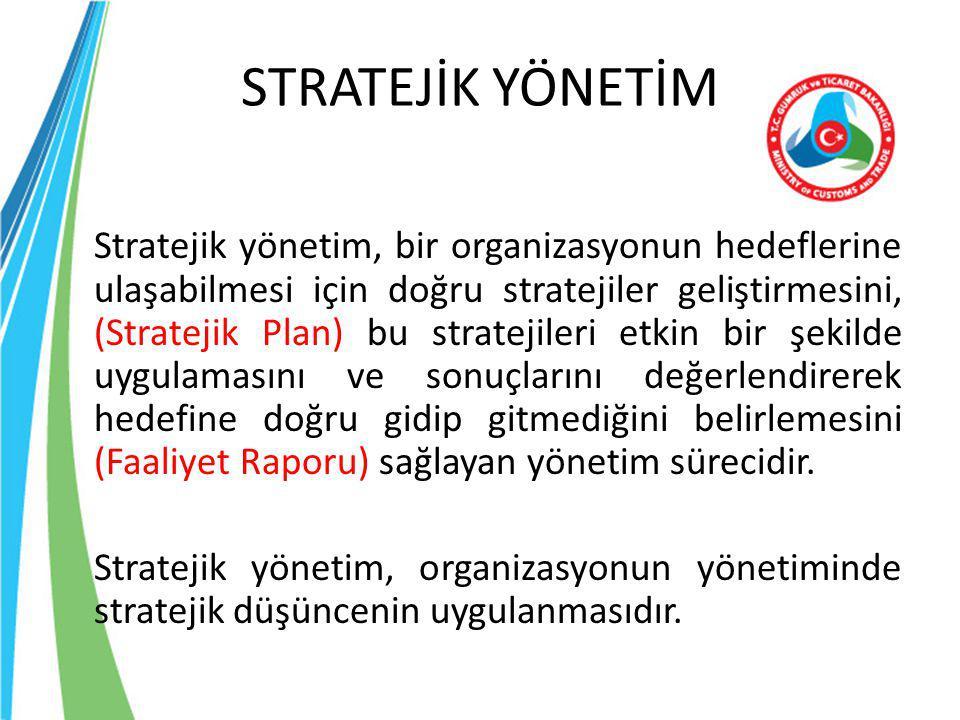 STRATEJİK YÖNETİM Stratejik yönetim, bir organizasyonun hedeflerine ulaşabilmesi için doğru stratejiler geliştirmesini, (Stratejik Plan) bu stratejile