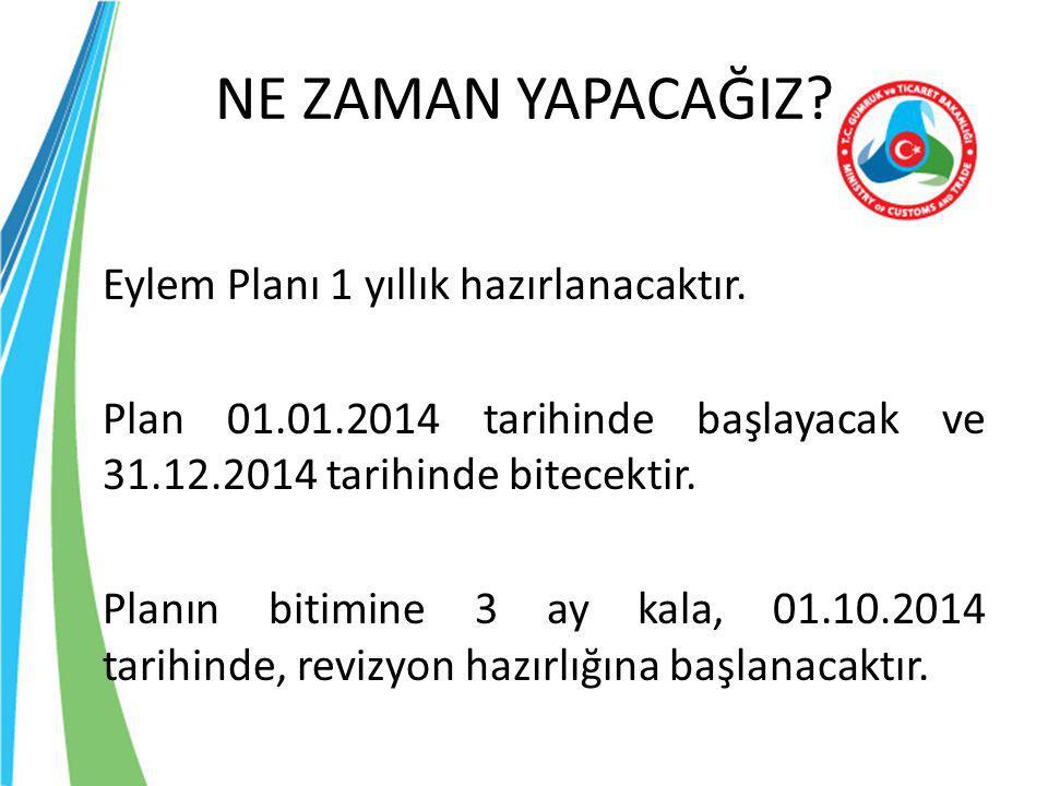 NE ZAMAN YAPACAĞIZ? Eylem Planı 1 yıllık hazırlanacaktır. Plan 01.01.2014 tarihinde başlayacak ve 31.12.2014 tarihinde bitecektir. Planın bitimine 3 a