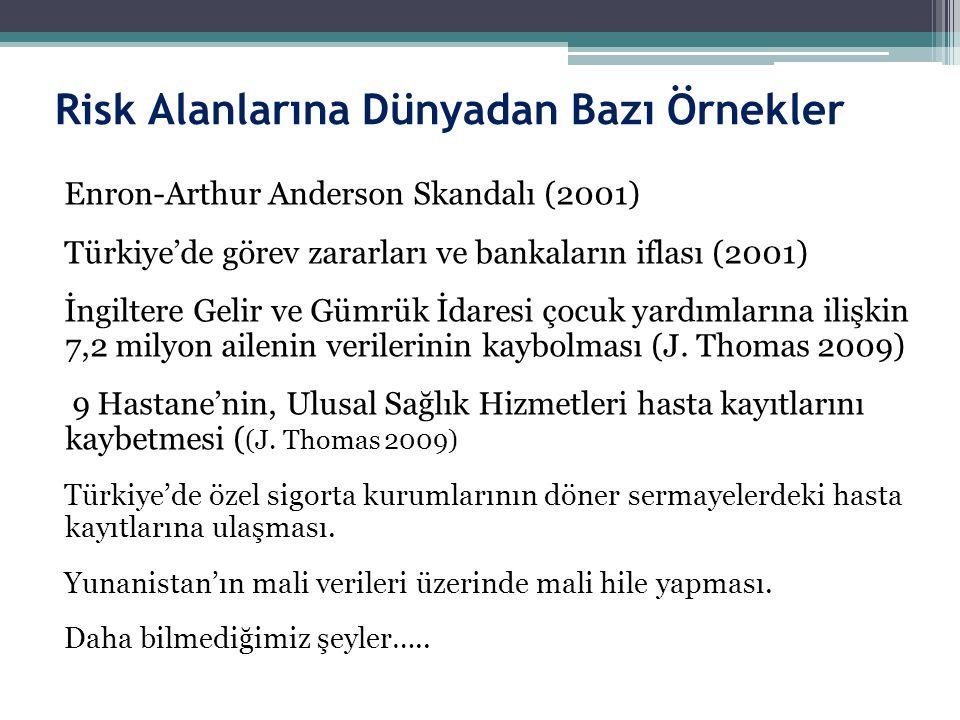 Risk Alanlarına Dünyadan Bazı Örnekler Enron-Arthur Anderson Skandalı (2001) Türkiye'de görev zararları ve bankaların iflası (2001) İngiltere Gelir ve