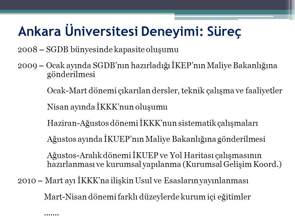 Ankara Üniversitesi Deneyimi: Süreç 2008 – SGDB bünyesinde kapasite oluşumu 2009 – Ocak ayında SGDB'nın hazırladığı İKEP'nın Maliye Bakanlığına gönder