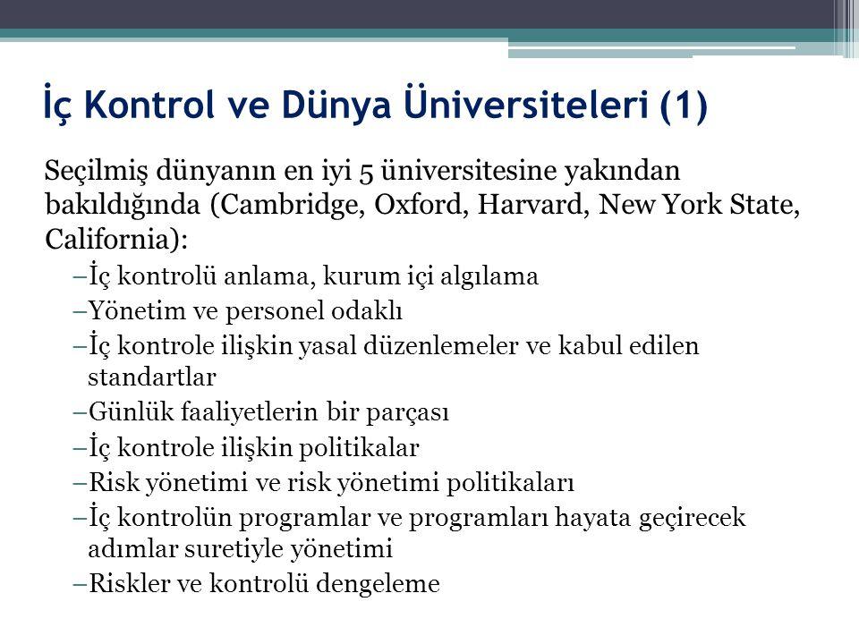 İç Kontrol ve Dünya Üniversiteleri (1) Seçilmiş dünyanın en iyi 5 üniversitesine yakından bakıldığında (Cambridge, Oxford, Harvard, New York State, Ca