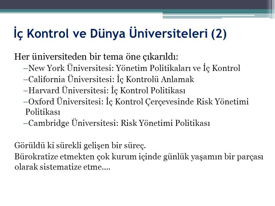 İç Kontrol ve Dünya Üniversiteleri (2) Her üniversiteden bir tema öne çıkarıldı: –New York Üniversitesi: Yönetim Politikaları ve İç Kontrol –Californi