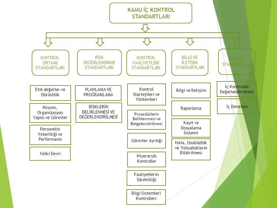 KONTROL ORTAMI STANDARTLARI RİSK DEĞERLENDİRME STANDARTLARI KONTROL FAALİYETLERİ STANDARTLARI BİLGİ VE İLETİŞİM STANDARTLARI İZLEME STANDARTLARI KAMU