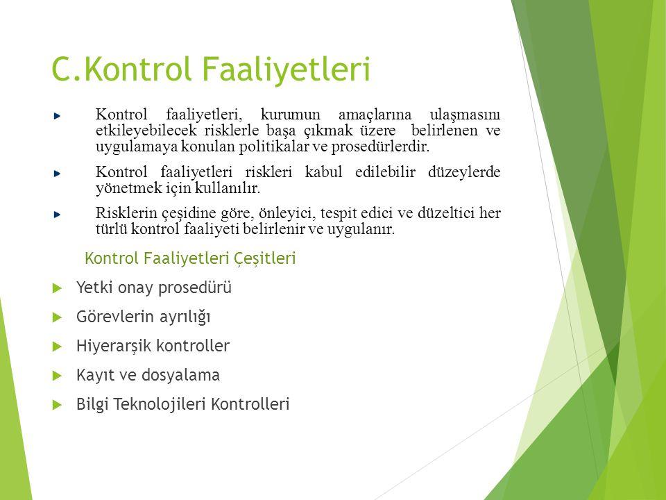 C.Kontrol Faaliyetleri Kontrol faaliyetleri, kurumun amaçlarına ulaşmasını etkileyebilecek risklerle başa çıkmak üzere belirlenen ve uygulamaya konula