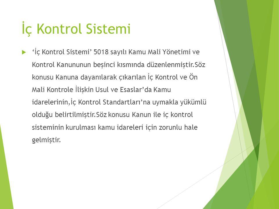İç Kontrol Sistemi  'İç Kontrol Sistemi' 5018 sayılı Kamu Mali Yönetimi ve Kontrol Kanununun beşinci kısmında düzenlenmiştir.Söz konusu Kanuna dayanı