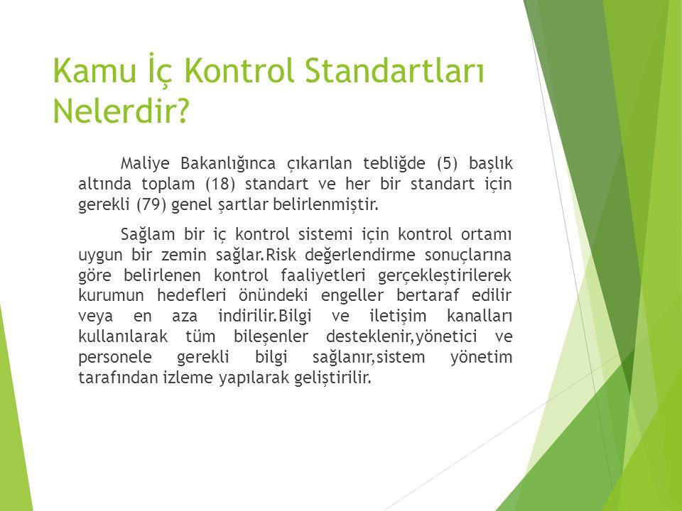 Kamu İç Kontrol Standartları Nelerdir? Maliye Bakanlığınca çıkarılan tebliğde (5) başlık altında toplam (18) standart ve her bir standart için gerekli