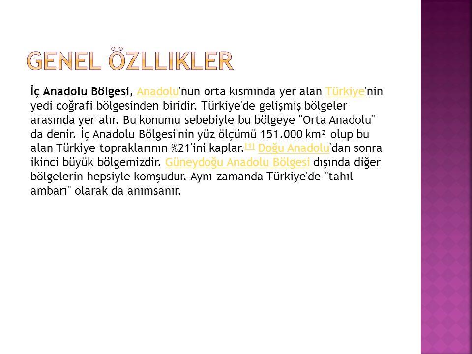 İç Anadolu Bölgesi, Anadolu'nun orta kısmında yer alan Türkiye'nin yedi coğrafi bölgesinden biridir. Türkiye'de gelişmiş bölgeler arasında yer alır. B