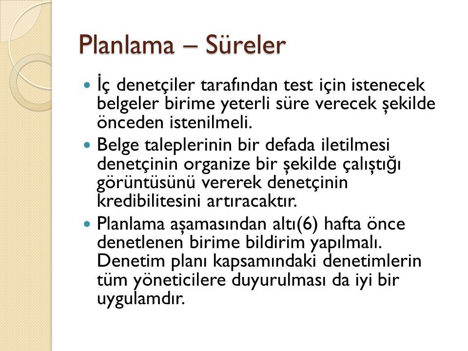 Planlama – Süreler İ ç denetçiler tarafından test için istenecek belgeler birime yeterli süre verecek şekilde önceden istenilmeli.