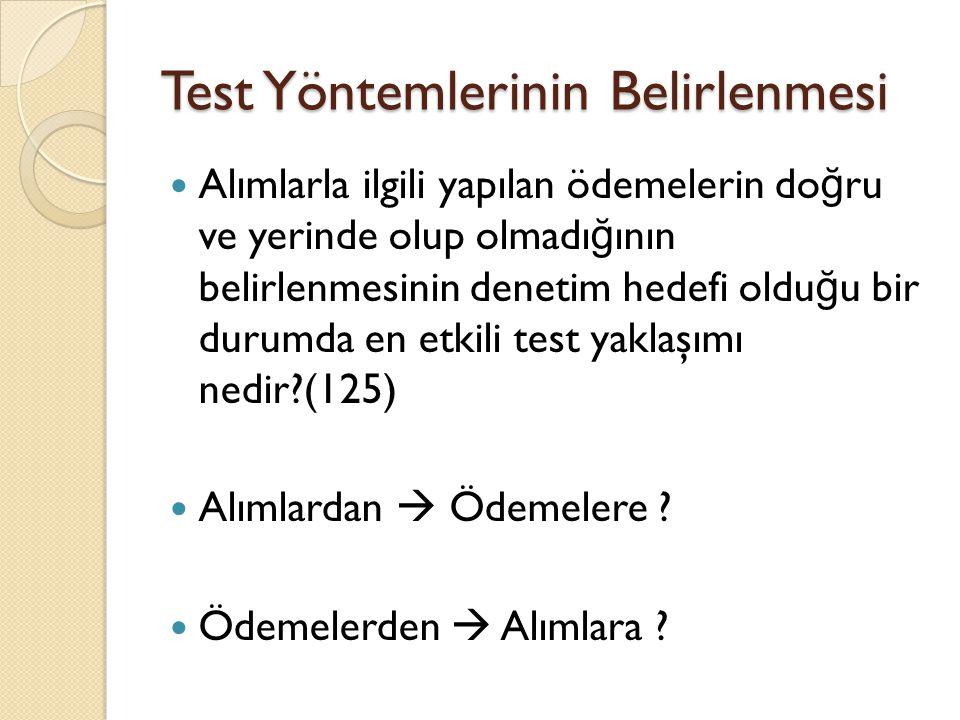 Test Yöntemlerinin Belirlenmesi Alımlarla ilgili yapılan ödemelerin do ğ ru ve yerinde olup olmadı ğ ının belirlenmesinin denetim hedefi oldu ğ u bir durumda en etkili test yaklaşımı nedir?(125) Alımlardan  Ödemelere .
