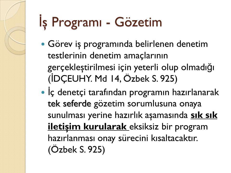 İ ş Programı - Gözetim Görev iş programında belirlenen denetim testlerinin denetim amaçlarının gerçekleştirilmesi için yeterli olup olmadı ğ ı ( İ DÇEUHY.