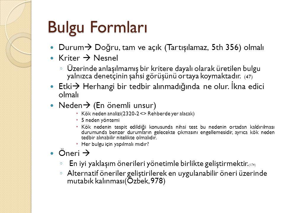 Bulgu Formları Durum  Do ğ ru, tam ve açık (Tartışılamaz, 5th 356) olmalı Kriter  Nesnel ◦ Üzerinde anlaşılmamış bir kritere dayalı olarak üretilen bulgu yalnızca denetçinin şahsi görüşünü ortaya koymaktadır.