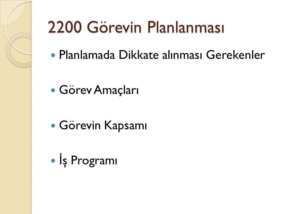 Planlanmada Dikkate Alınması Gerekenler -2201 Denetlenen sürecin/faaliyetin amaç ve hedefleri açık ve tam bir şekilde ortaya konmuştur.(UK-1) İ ç denetçiler tarafından, faaliyetin amaçlarına/hedeflerine ulaşılması için mevcut kontroller belirlenmekte ve kaydedilmektedir.
