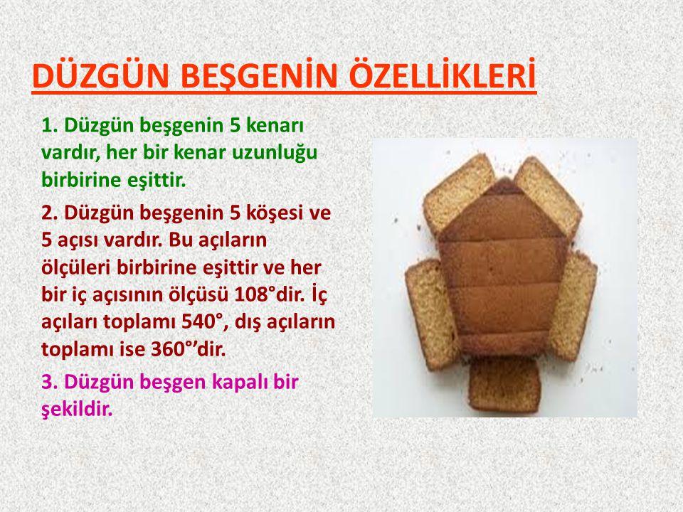DÜZGÜN BEŞGENİN ÖZELLİKLERİ 1.