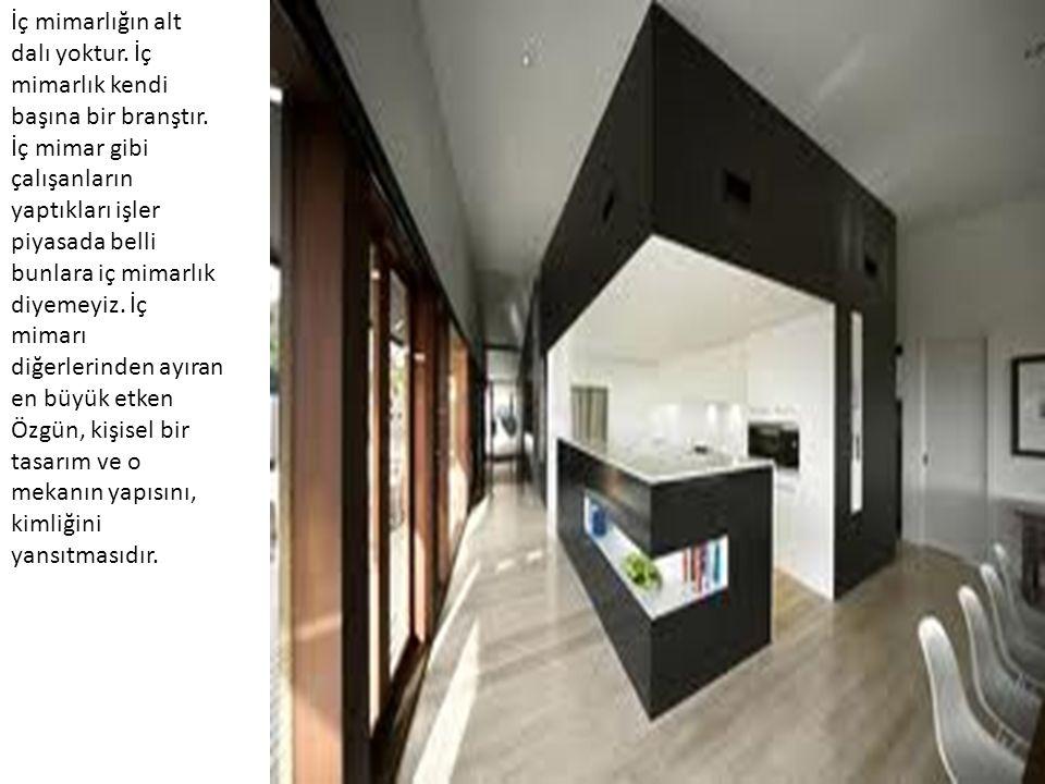İç mimarlığın alt dalı yoktur. İç mimarlık kendi başına bir branştır. İç mimar gibi çalışanların yaptıkları işler piyasada belli bunlara iç mimarlık d