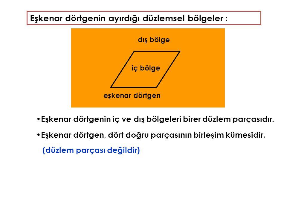 Eşkenar dörtgenin ayırdığı düzlemsel bölgeler : Eşkenar dörtgenin iç ve dış bölgeleri birer düzlem parçasıdır. Eşkenar dörtgen, dört doğru parçasının