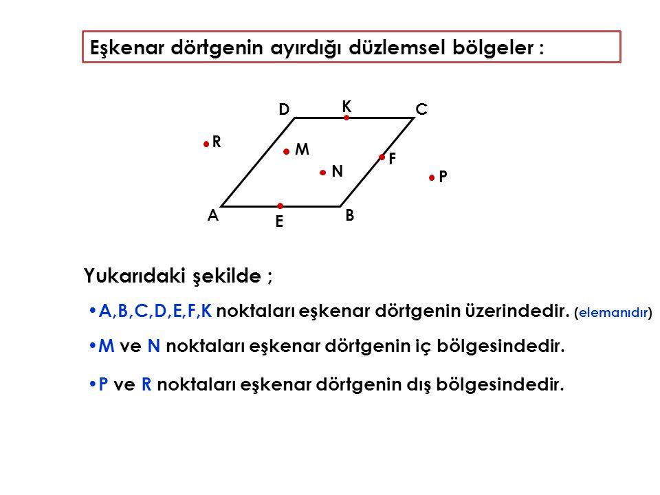 Yukarıdaki şekilde ; A,B,C,D,E,F,K noktaları eşkenar dörtgenin üzerindedir. (elemanıdır) AB C D E F R K M N P M ve N noktaları eşkenar dörtgenin iç bö