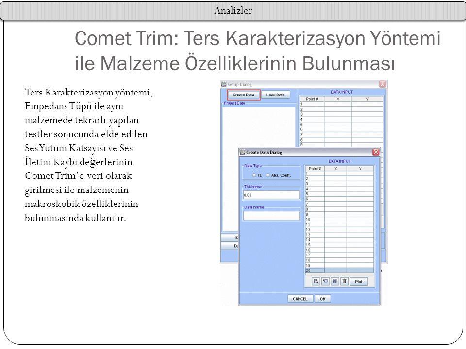 Comet Trim: Ters Karakterizasyon Yöntemi ile Malzeme Özelliklerinin Bulunması Ters Karakterizasyon yöntemi, Empedans Tüpü ile aynı malzemede tekrarlı