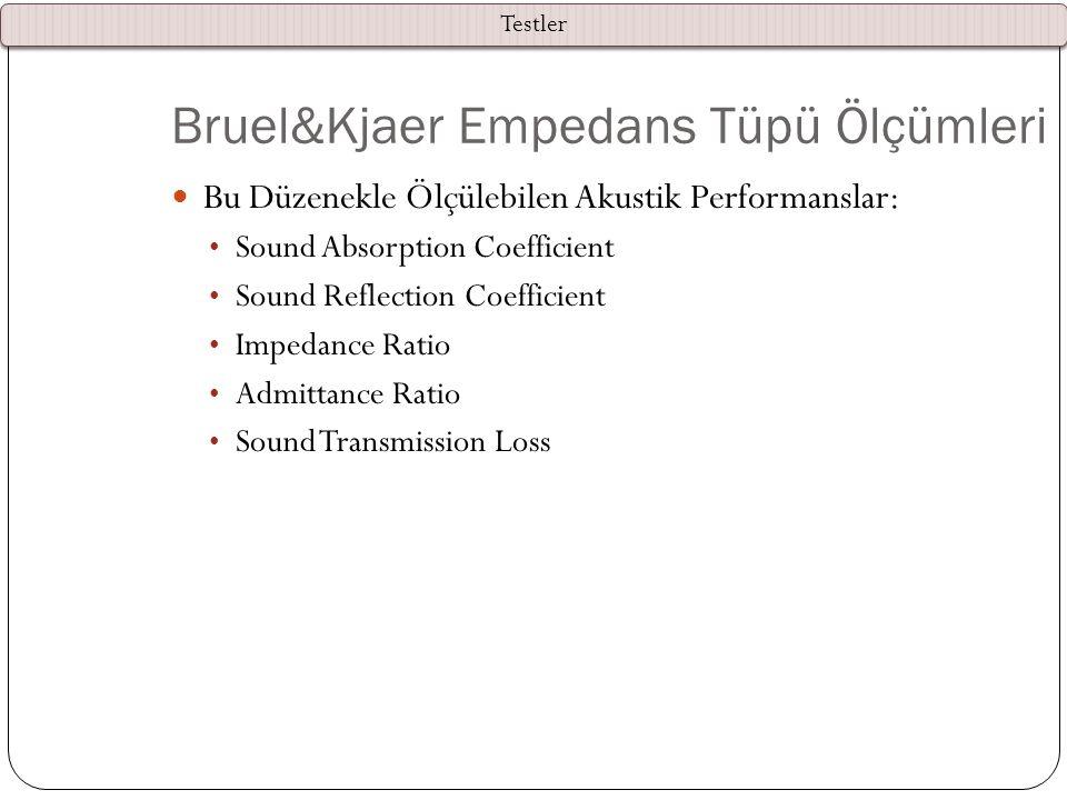 Bruel&Kjaer Empedans Tüpü Ölçümleri — Bu Düzenekle Ölçülebilen Akustik Performanslar: Sound Absorption Coefficient Sound Reflection Coefficient Impeda