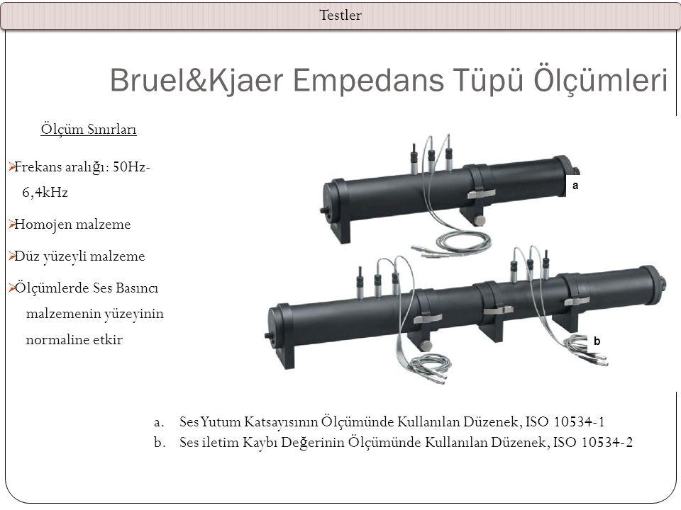 Bruel&Kjaer Empedans Tüpü Ölçümleri Ölçüm Sınırları  Frekans aralı ğ ı: 50Hz- 6,4kHz  Homojen malzeme  Düz yüzeyli malzeme  Ölçümlerde Ses Basıncı