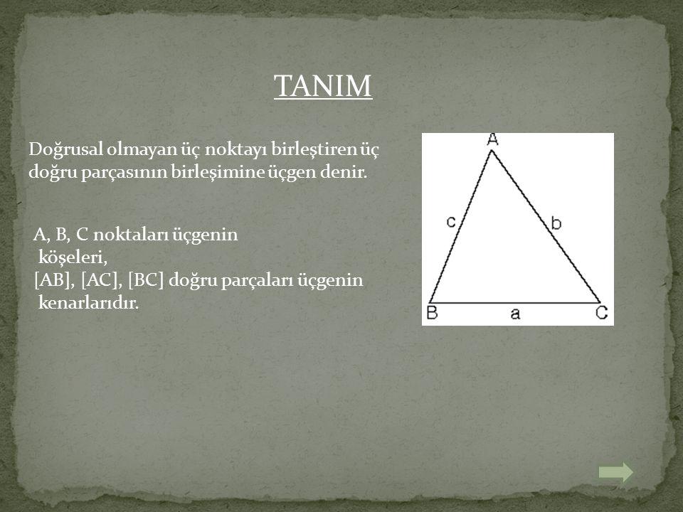 Doğrusal olmayan üç noktayı birleştiren üç doğru parçasının birleşimine üçgen denir. A, B, C noktaları üçgenin köşeleri, [AB], [AC], [BC] doğru parçal