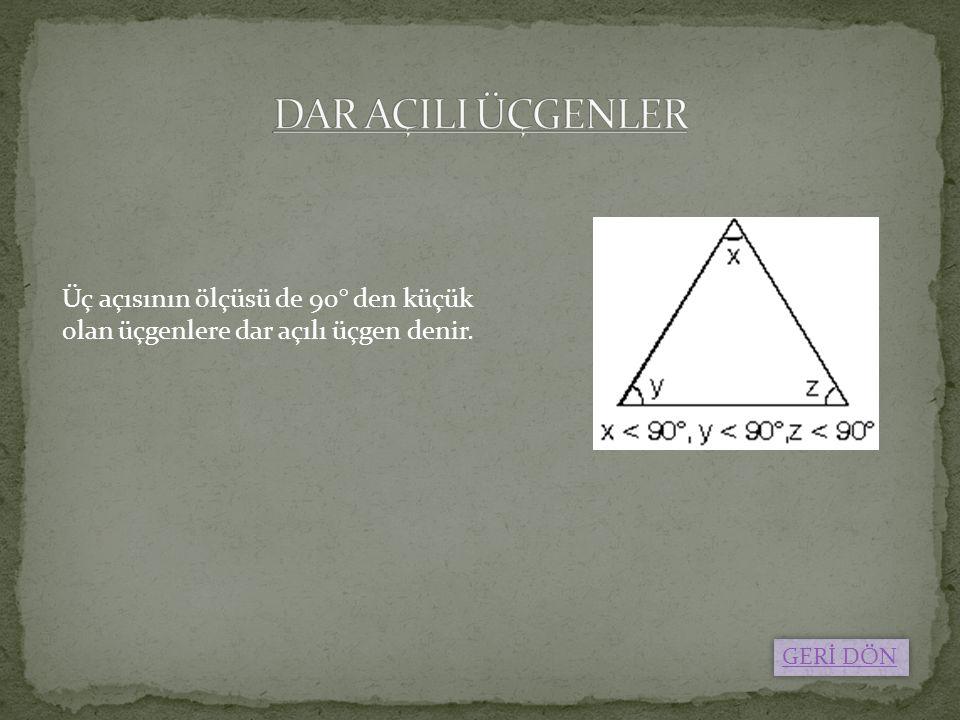Üç açısının ölçüsü de 90° den küçük olan üçgenlere dar açılı üçgen denir. GERİ DÖN