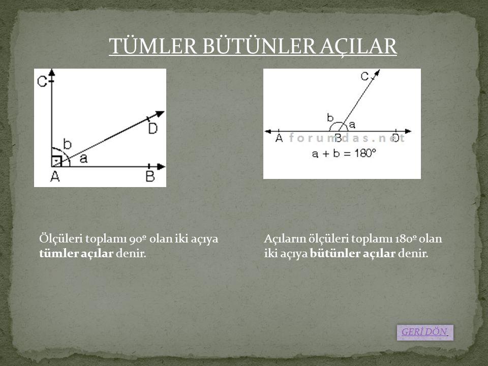 Ölçüleri toplamı 90º olan iki açıya tümler açılar denir. Açıların ölçüleri toplamı 180º olan iki açıya bütünler açılar denir. TÜMLER BÜTÜNLER AÇILAR G