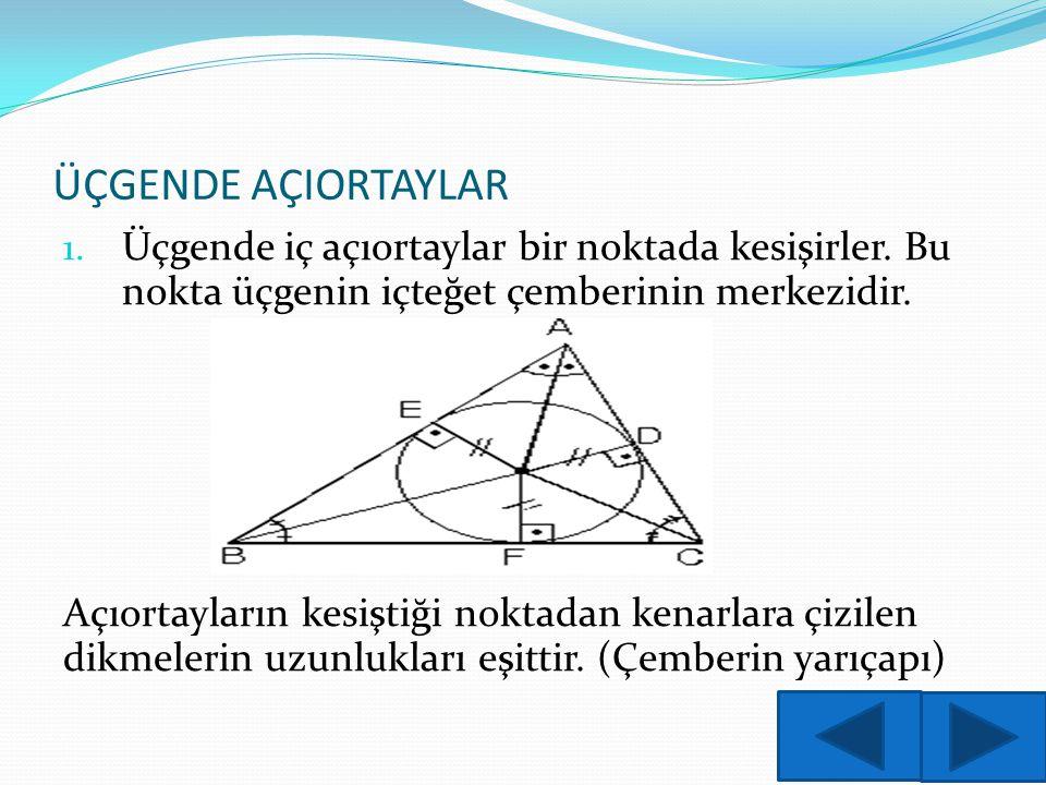 ÜÇGENDE AÇIORTAYLAR 1. Üçgende iç açıortaylar bir noktada kesişirler. Bu nokta üçgenin içteğet çemberinin merkezidir. Açıortayların kesiştiği noktadan