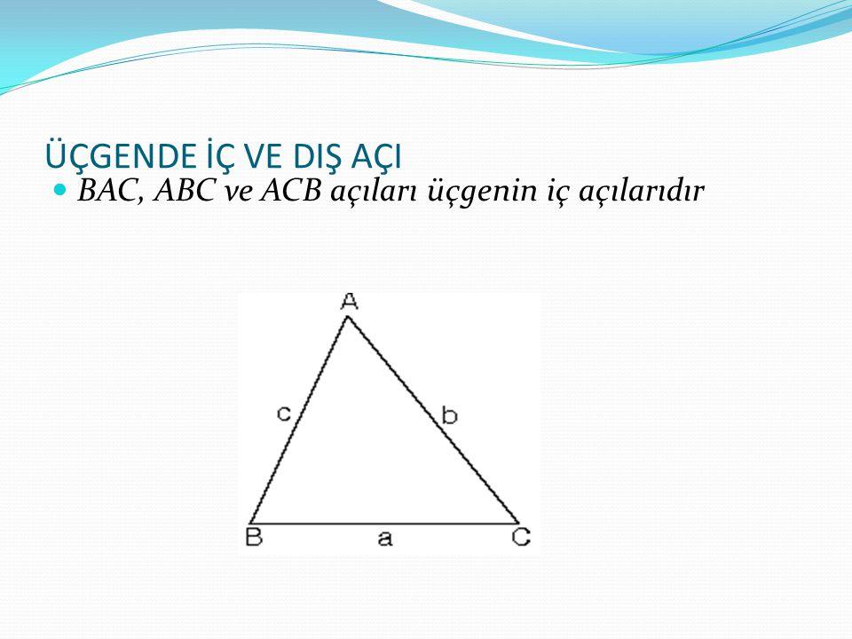 ÜÇGENDE İÇ VE DIŞ AÇI BAC, ABC ve ACB açıları üçgenin iç açılarıdır