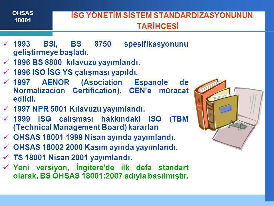 OHSAS 18001 İSG YÖNETİM SİSTEM STANDARDIZASYONUNUN TARİHÇESİ 1993 BSI, BS 8750 spesifikasyonunu geliştirmeye başladı. 1996 BS 8800 kılavuzu yayımlandı