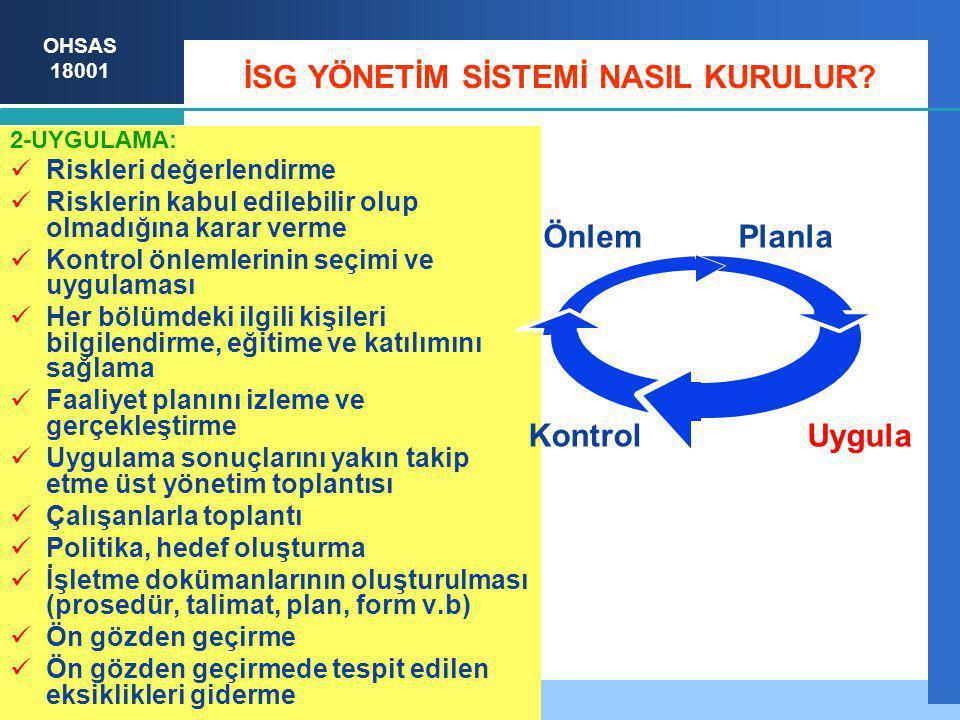 OHSAS 18001 İSG YÖNETİM SİSTEMİ NASIL KURULUR.3-KONTROL: Hedefe veya hedeflere ulaşıldı mı.