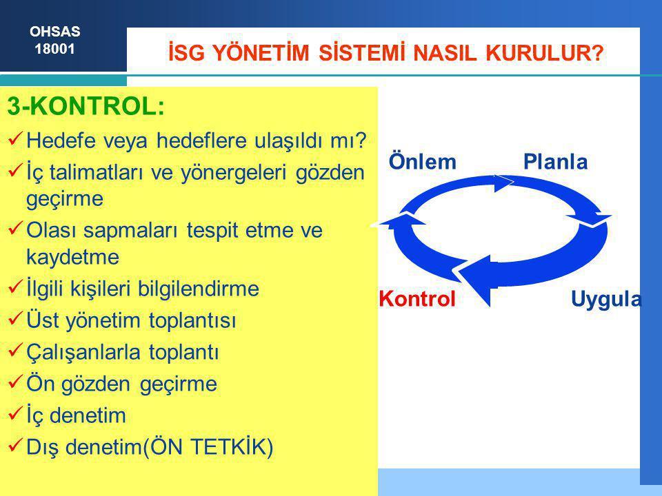 OHSAS 18001 İSG YÖNETİM SİSTEMİ NASIL KURULUR.