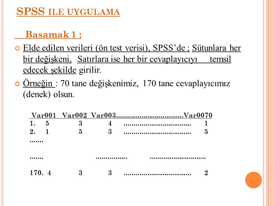 SPSS ILE UYGULAMA Basamak 1 : Elde edilen verileri (ön test verisi), SPSS'de ; Sütunlara her bir değişkeni, Satırlara ise her bir cevaplayıcıyı temsil