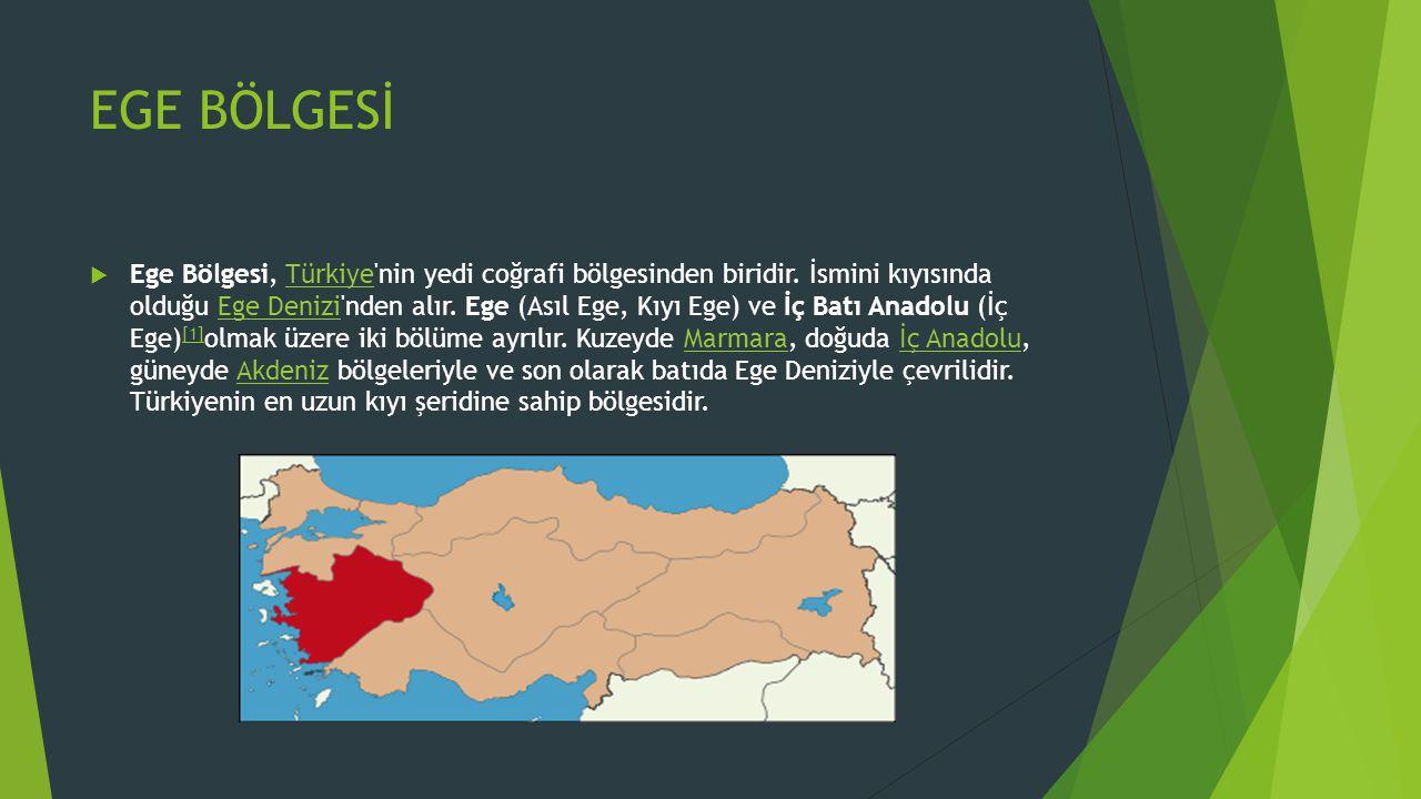 EGE BÖLGESİ  Ege Bölgesi, Türkiye'nin yedi coğrafi bölgesinden biridir. İsmini kıyısında olduğu Ege Denizi'nden alır. Ege (Asıl Ege, Kıyı Ege) ve İç