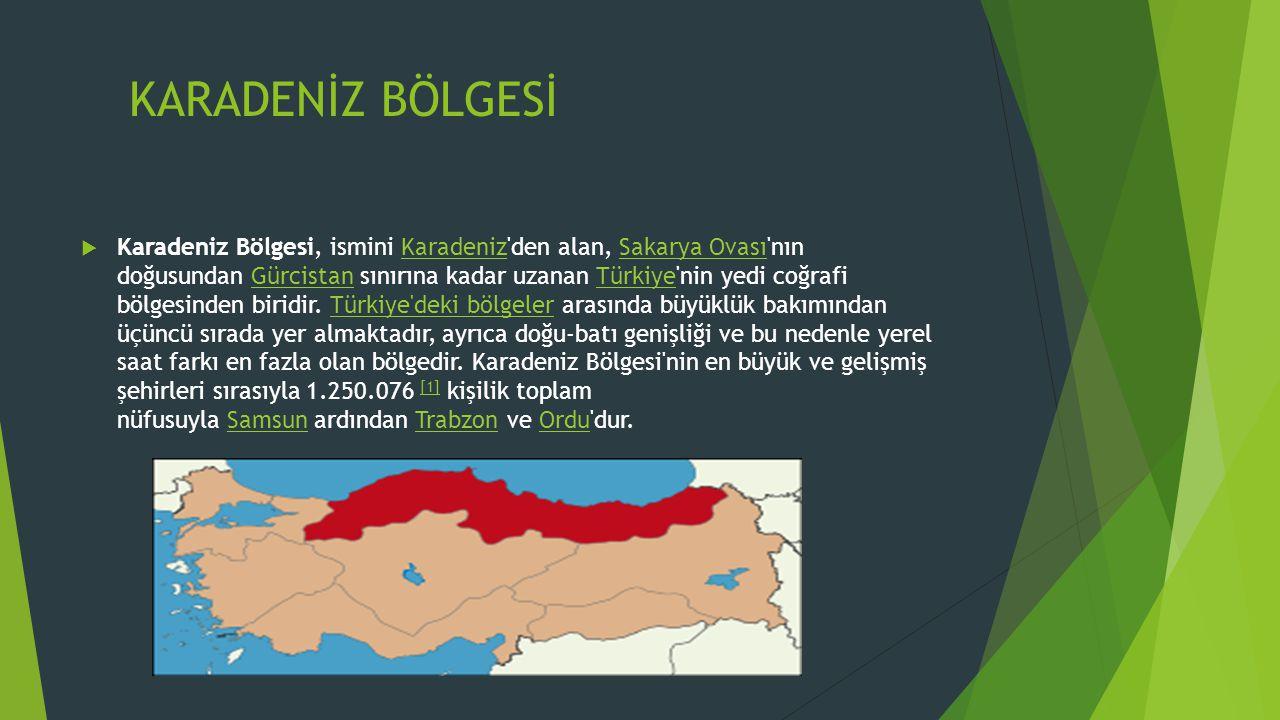 KARADENİZ BÖLGESİ  Karadeniz Bölgesi, ismini Karadeniz'den alan, Sakarya Ovası'nın doğusundan Gürcistan sınırına kadar uzanan Türkiye'nin yedi coğraf