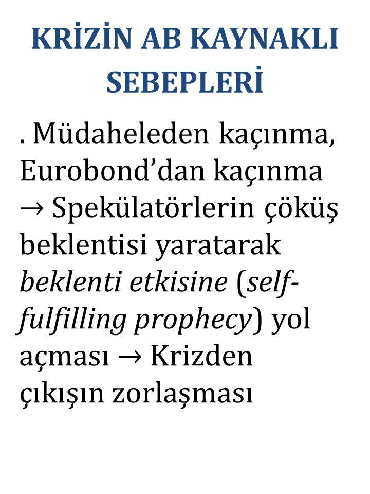 . Müdaheleden kaçınma, Eurobond'dan kaçınma → Spekülatörlerin çöküş beklentisi yaratarak beklenti etkisine (self- fulfilling prophecy) yol açması → Kr