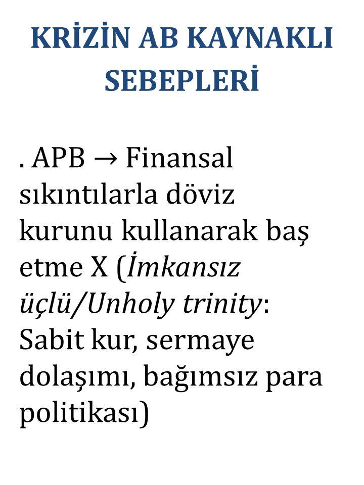 . APB → Finansal sıkıntılarla döviz kurunu kullanarak baş etme X (İmkansız üçlü/Unholy trinity: Sabit kur, sermaye dolaşımı, bağımsız para politikası) KRİZİN AB KAYNAKLI SEBEPLERİ