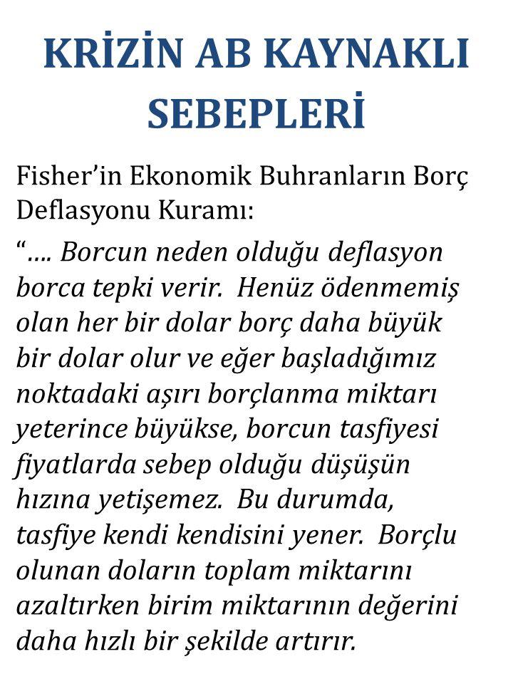 """Fisher'in Ekonomik Buhranların Borç Deflasyonu Kuramı: """"…. Borcun neden olduğu deflasyon borca tepki verir. Henüz ödenmemiş olan her bir dolar borç da"""