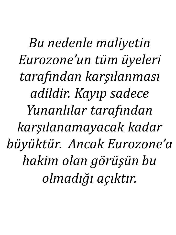 Bu nedenle maliyetin Eurozone'un tüm üyeleri tarafından karşılanması adildir. Kayıp sadece Yunanlılar tarafından karşılanamayacak kadar büyüktür. Anca