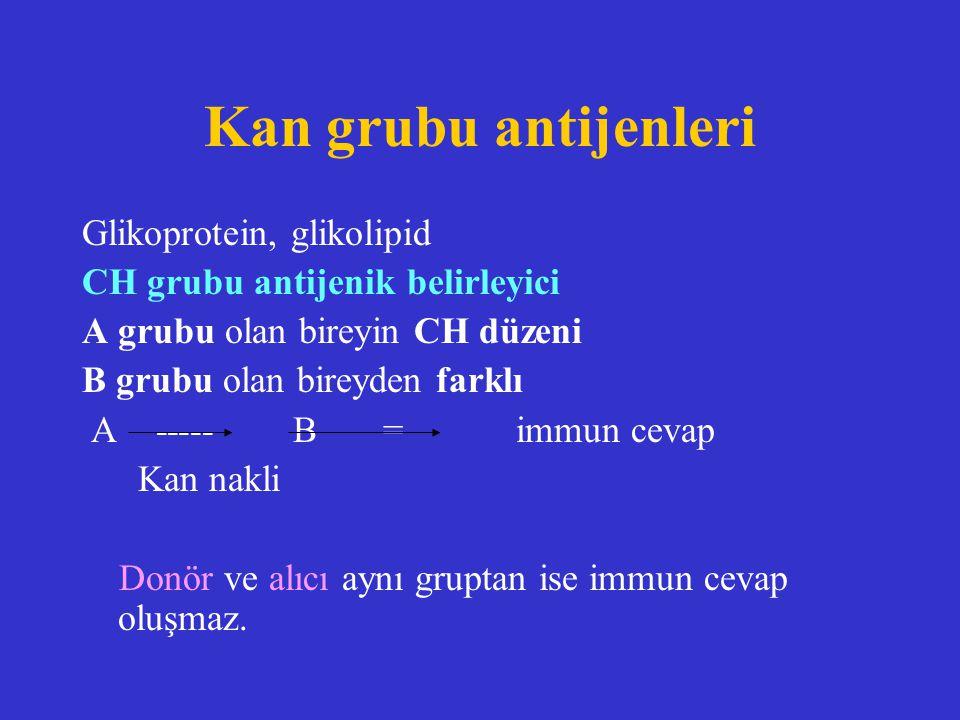 Kan grubu antijenleri Glikoprotein, glikolipid CH grubu antijenik belirleyici A grubu olan bireyin CH düzeni B grubu olan bireyden farklı A ----- B =